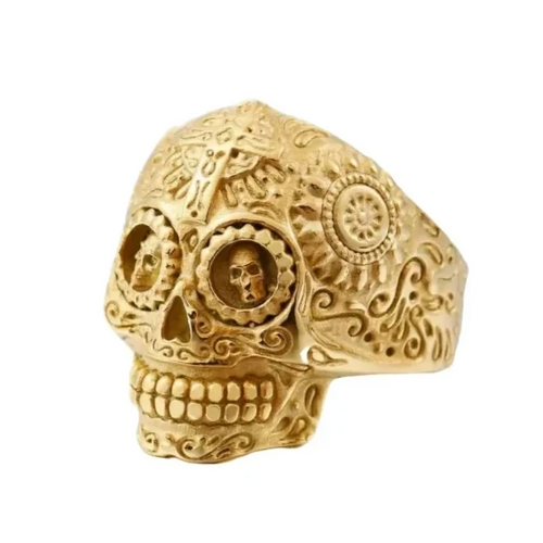 Gold Titanium Steel Sugar Skull Ring - Kryzeus
