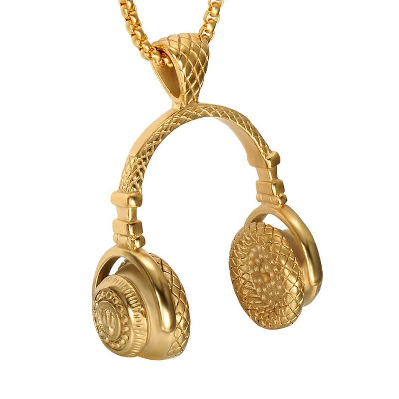 14k Gold Headphone Pendant With Chain - Kryzeus