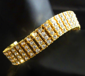 15mm Yellow Gold Four Row CZ Tennis Bracelet - Kryzeus
