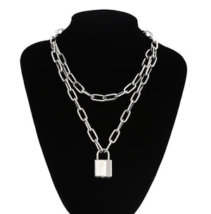 Double Layer Lock & Key Pendant Necklace - Kryzeus