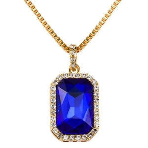 BLUE SAPPHIRE YELLOW GOLD PENDANT NECKLACE - Kryzeus