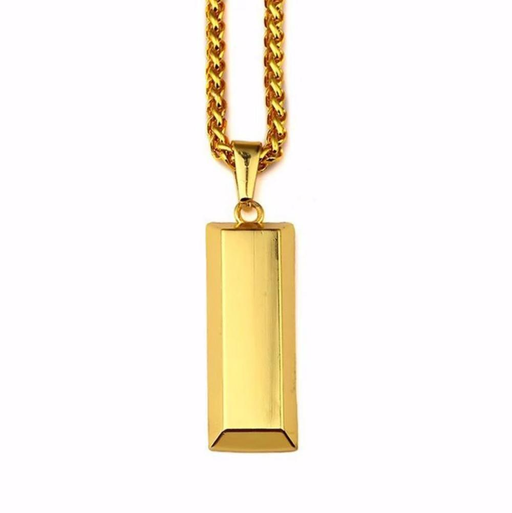 18k Gold Bar Pendant With Chain - Kryzeus