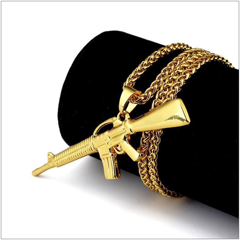 14k Gold Assault Rifle Pendant With Chain - Kryzeus