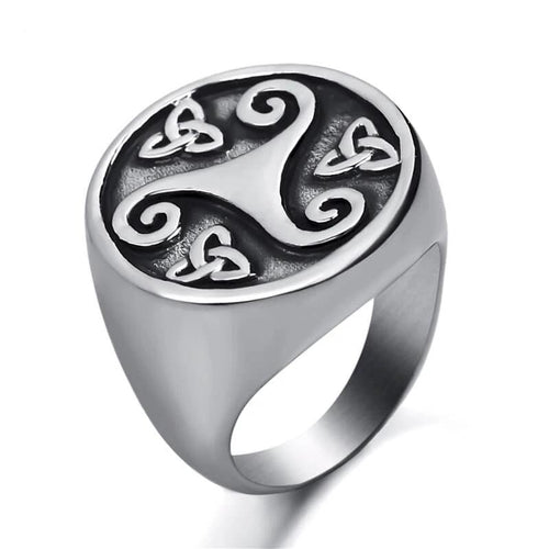 Celtic Triskelion Stainless Steel Ring - Kryzeus