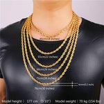 6mm Yellow Gold Dookie Rope Chain - Kryzeus