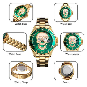 KRYZEUS GOLDXGREEN SKULL QUARTZ WATCH - Kryzeus