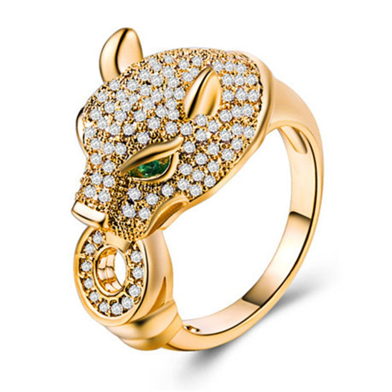 14k Gold Leopard Head CZ Ring - Kryzeus