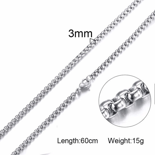 3mm Stainless Steel Thick Link Box Chain - Kryzeus