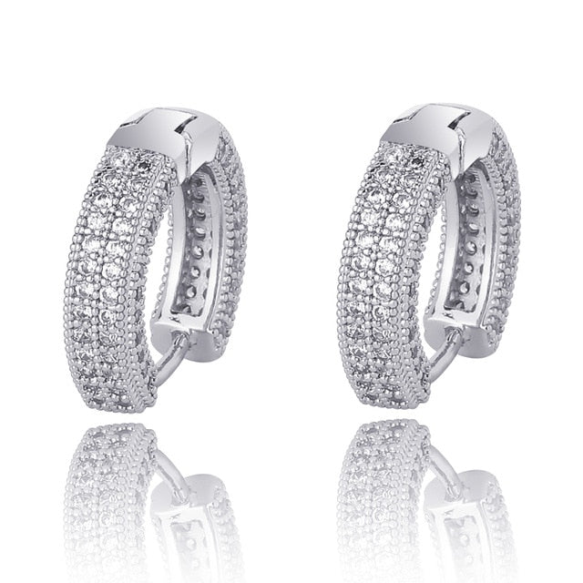 Round CZ Fully Iced Out Stud Earrings - Kryzeus