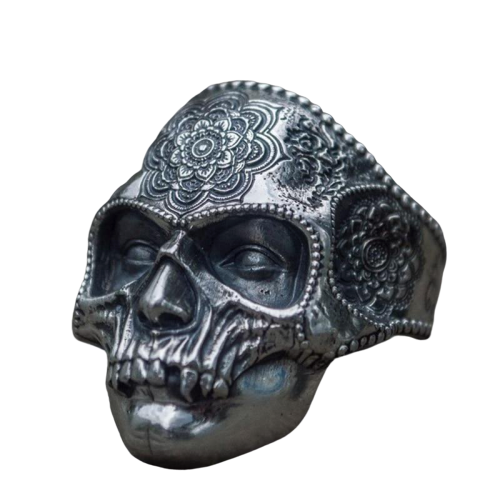 316L Stainless Steel Mandala Sugar Skull Ring - Kryzeus
