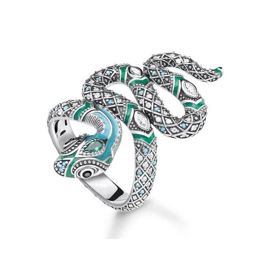 Open-End Blue Snake Pave 925 Sterling Silver Ring - Kryzeus
