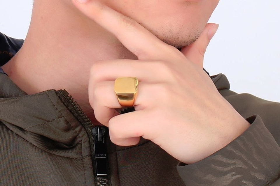 Classic Flat-top Pinky Signet Ring - Kryzeus