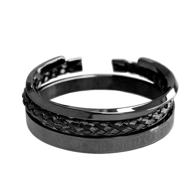 Roman Titanium Steel Bangle Set - Kryzeus