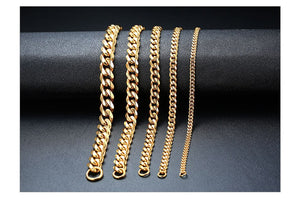 3-11mm Stainless Steel Cuban Link Chain Bracelet - Kryzeus
