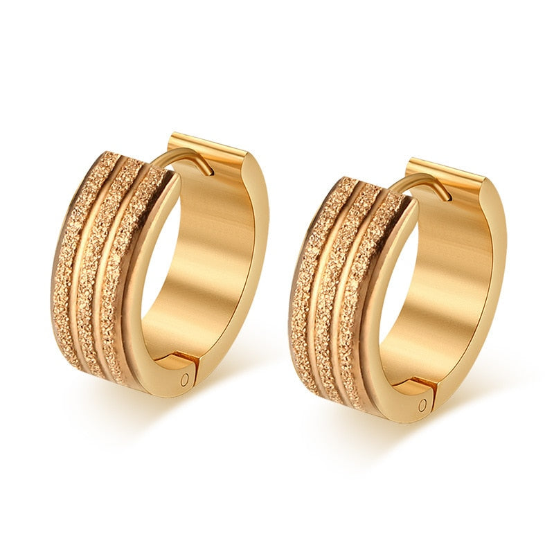 24k Gold Scrub Titanium 2-Part Drop Earrings - Kryzeus