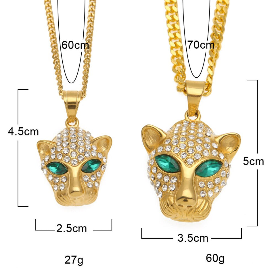 Leopard Head Iced Out Rhinestone Necklace - Kryzeus