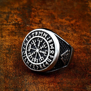 316L Stainless Steel Vegvisir Viking Ring - Kryzeus