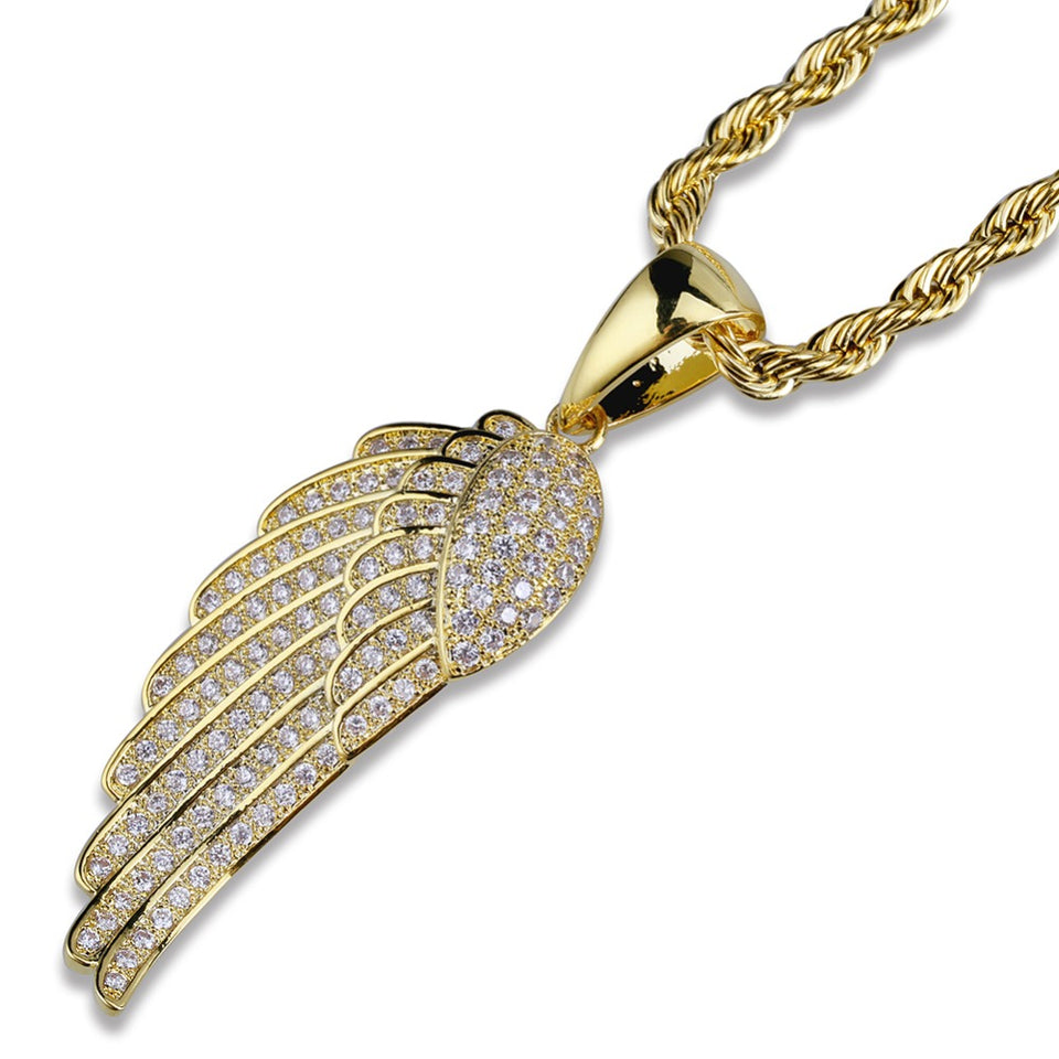 Micro Paved CZ Angel Wing Necklace - Kryzeus