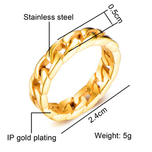 Classic Stainless Steel Cuban Chain Ring - Kryzeus