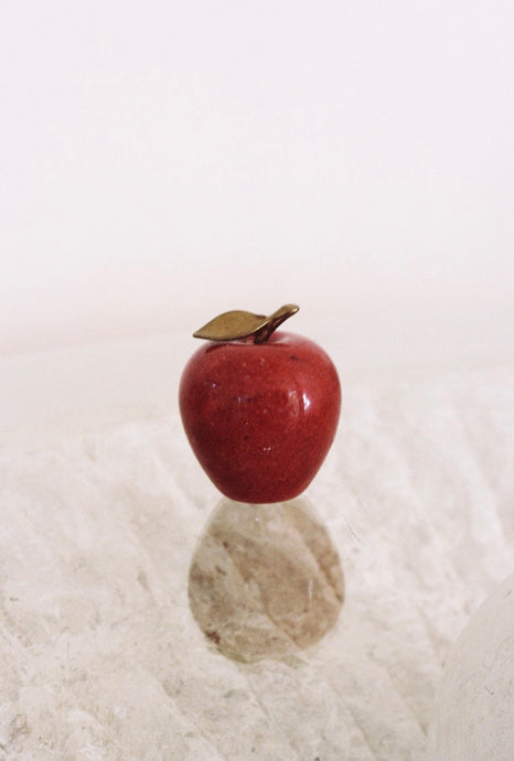 Red Marble and Brass Apple Paperweight