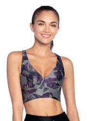Maaji Whispering Flora Gray Reversible Low Impact Sports Bra W/ Removable Cups