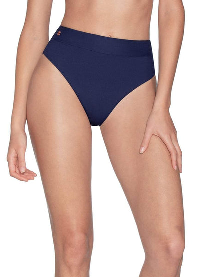 Maaji Ink Blue Suzy Q Reversible High Waisted Bikini Bottom