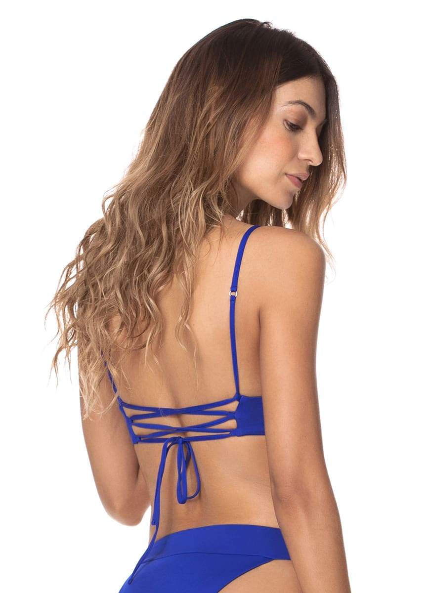 Maaji Azure Blue Parade Long Line Triangle Bikini Top - Maaji
