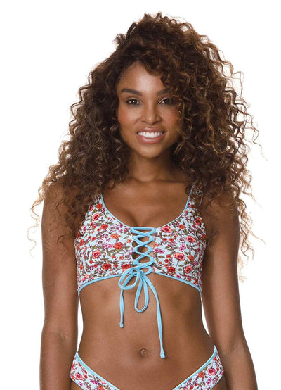 Maaji Cloud Blue Danzel Lace Up Bralette Bikini Top - Maaji