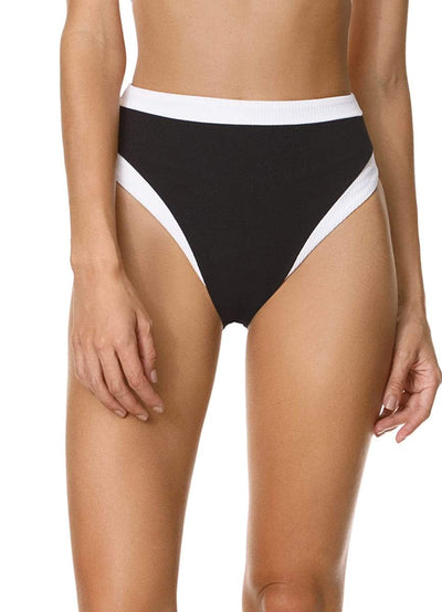 Maaji Ebony Black Freedom High Rise/High Leg Bikini Bottom - Maaji