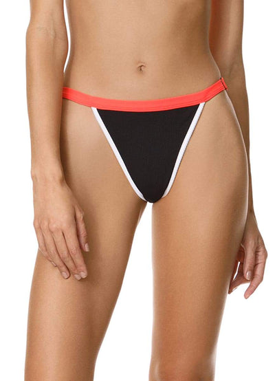 Maaji Ebony Black Islandia High Rise/High Leg Bikini Bottom - Maaji