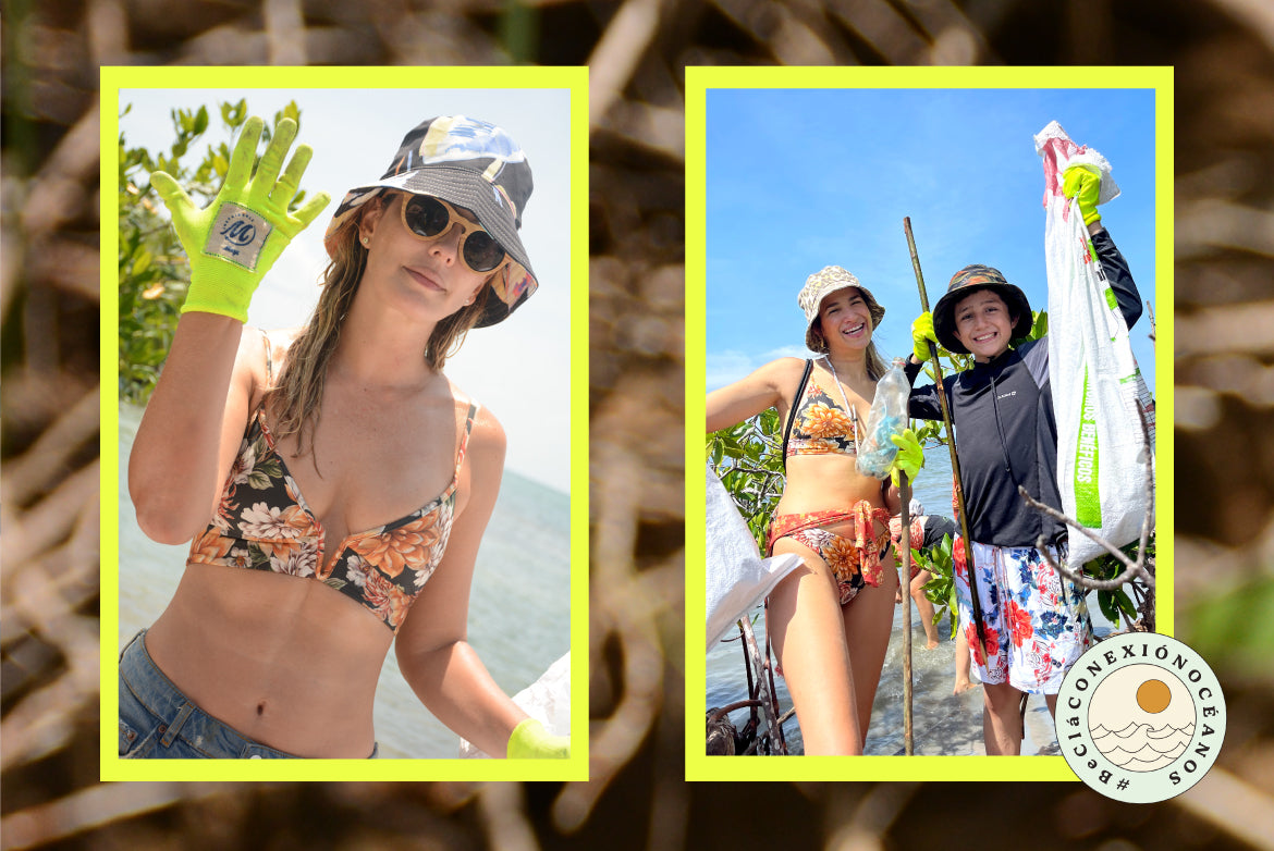 Claudia Bahamón, eco - activist, wearing Maaji swimsuit, bucket hat and beach cleaning gloves. At the side, a woman jumping into the water wearing a Maaji bikini.