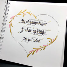 Load image into Gallery viewer, skrautritun calligraphy lettering gothic blackletter skrautskrift brúðkaup skírn marriage