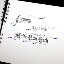 Load image into Gallery viewer, skrautritun calligraphy lettering gothic blackletter skrautskrift ferming