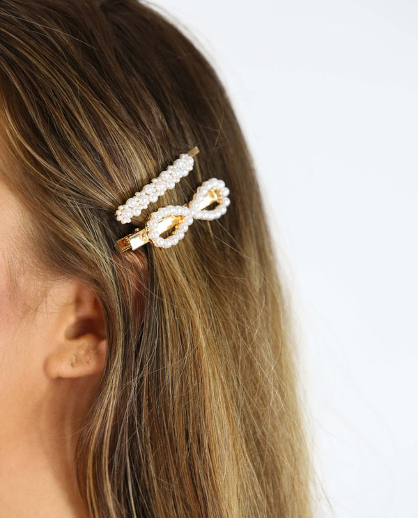 Pearl Bow Clip Set - MSC The Store