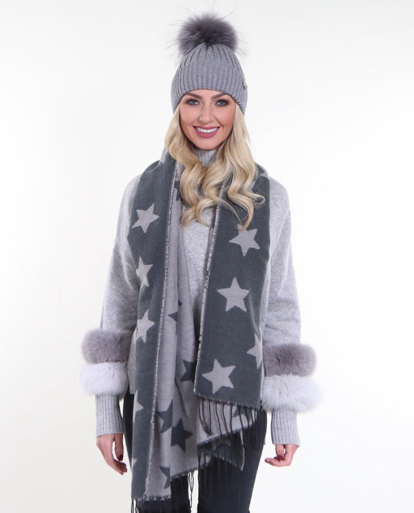 Star Scarf in grey - MSC The Store