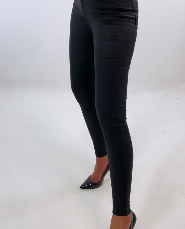 Push Up Black Leather Jeans