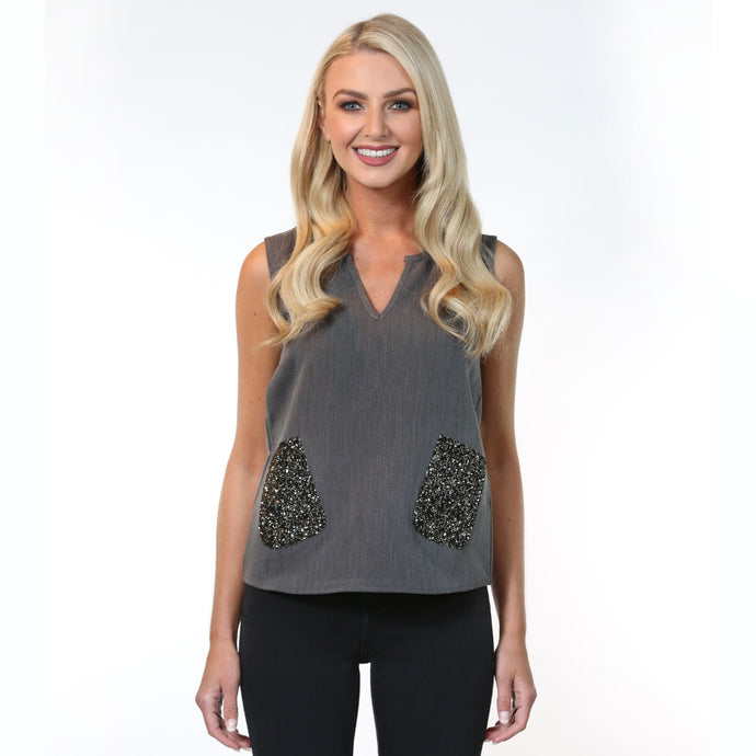 Lisa Top Grey - MSC The Store