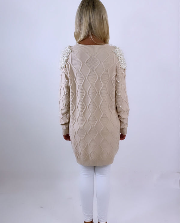 Pearl embellished long knit