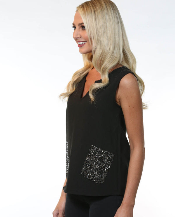 Lisa Top Black, sleeveless with bead embellish pockets- MSC The Store
