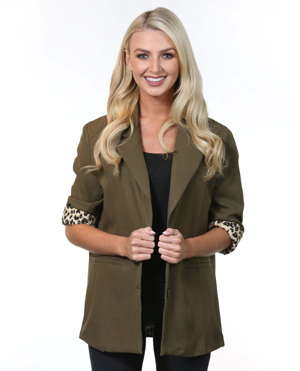 Jenny Blazer in khaki green with leopard print trim sleeve - MSC The Store