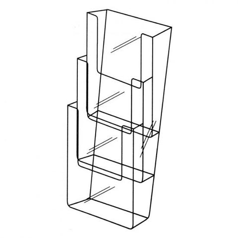 Wall Mountable A4 3 Tier Portrait Brochure Holder