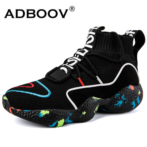 ADBOOV  High Top Sneakers Women Knit Upper Breathable Sock Shoes Woman Thick Sole 5 CM Fashion sapato feminino Black / White