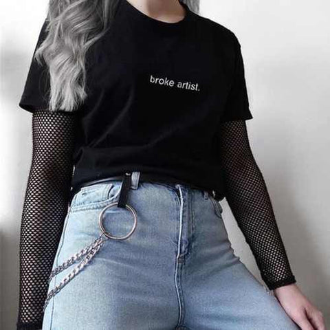 Broke Artist Black Graphic T-shirt Letters Printed Tumblr Gurnge Aesthetic Tee 80s 90s Girls Fashion Cool T Shirt Harajuku Tees