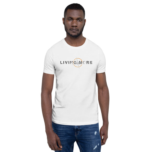 T-Shirt Men's Short-Sleeve: Living More (Distressed logo) (White)