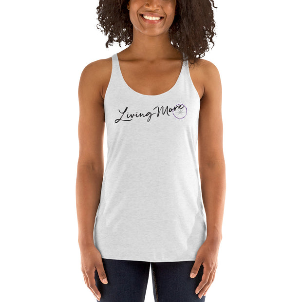 Women's Racerback Tank: Living More (Distressed logo) (Grey)