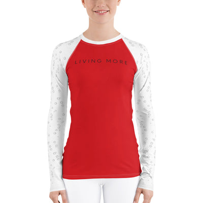 Women's Rash Guard: Living More (Bubbles) (Red & White)