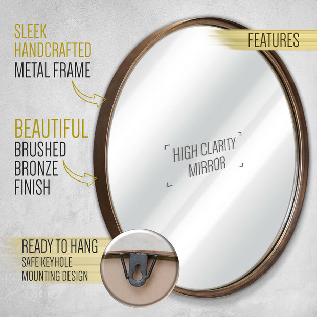 27 5 Round Rustic Wall Mirror For Bathroom Entry Dining Room Liv Hbcy Creations