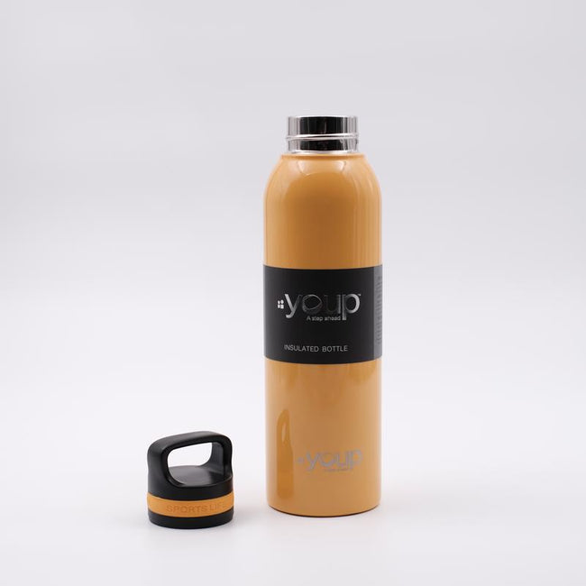 Youp Thermosteel yellow color water bottle with top handle YP751 - 750 ml