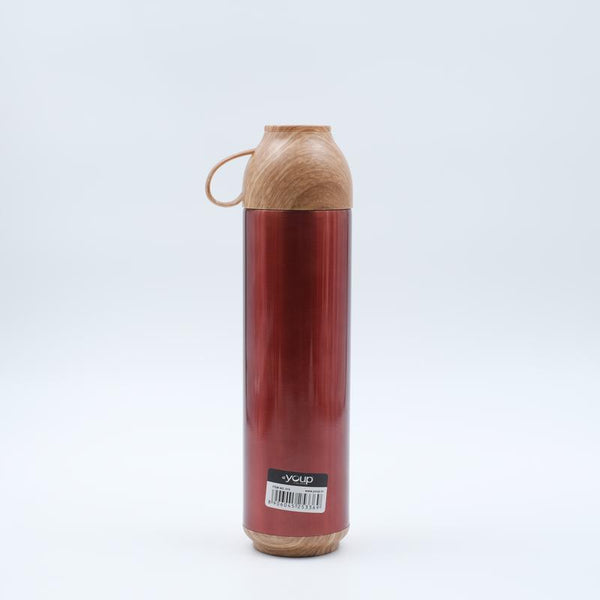 Youp Thermosteel red color water bottle with handle containing cup cap YP515 - 500 ml