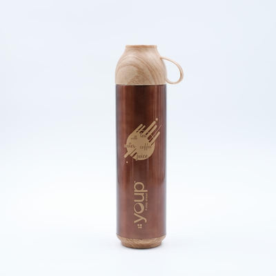 Youp Thermosteel brown color water bottle with handle containing cup cap YP515 - 500 ml